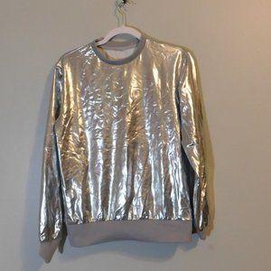 JOGAL Metallic Silver Shiny Shirt